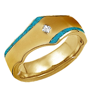 yellow gold and turquoise mens band