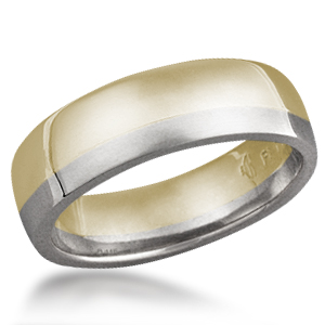 Plain Band Two Toned 14k Yellow Gold and Palladium