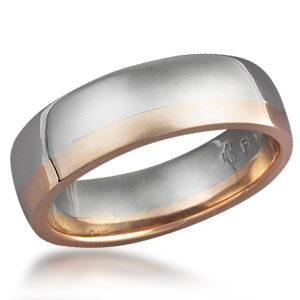 Striped Wedding Band - Two Tone palladium and 14k Rose Gold