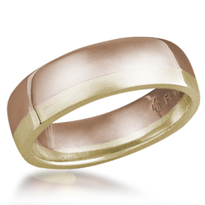 Striped Wedding Band-Two Tone-14k Rose Gold and 14k Yellow Gold