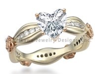 Ribbon Flower Engagement Ring with Heart Shaped Diamond