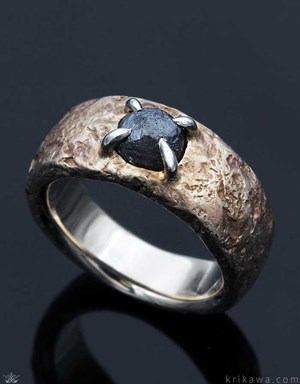 14k white gold Ancient Roman style ring with raw diamond