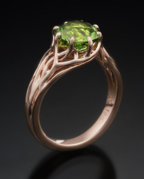 tree of life rose gold and peridot engagement ring
