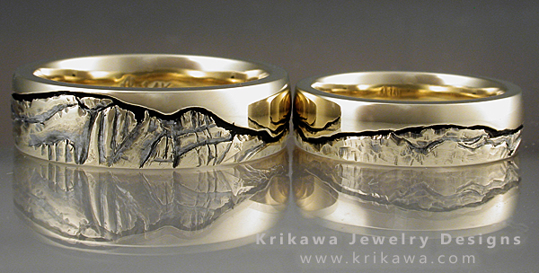 mountain wedding rings