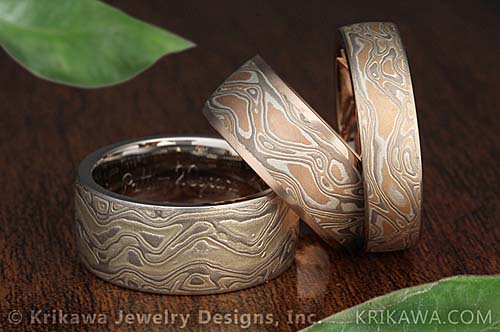 steel aluminum rings ring dp plated com amazon gane blue band interior with mokume damascus wedding