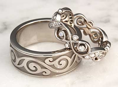 diamond infinity wedding set infinity leaf wedding bands - Wedding Rings Bands