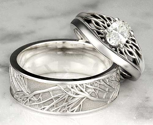 Unique Wedding Band Tree of Life Set