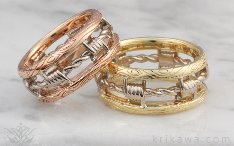 barbed wire matched wedding set