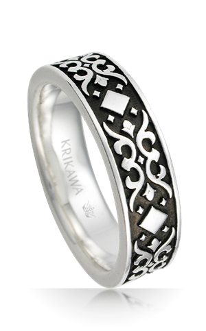 Baroque Mens Vintage Wedding Band