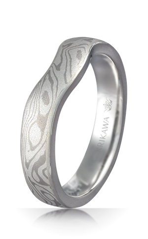 Contoured Mokume Gane Wedding Band