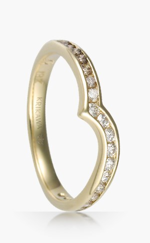 Curved Diamond Channel Wedding Band