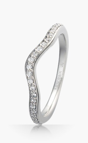 Curved Bead Set Wedding Band