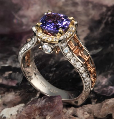 gorgeous designer cut sapphire engagement ring