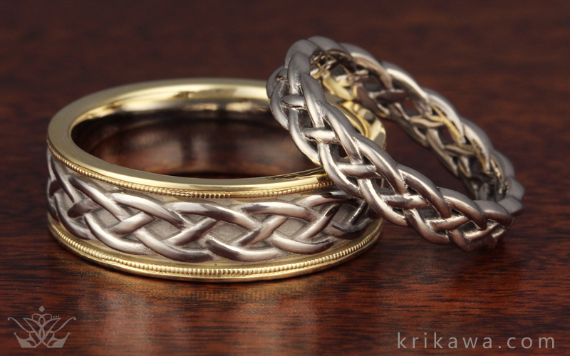 Creative and Artistic Wedding Rings Knot Twist and Dragons by