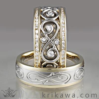 diamond infinity wedding set infinity leaf wedding bands - Infinity Wedding Ring
