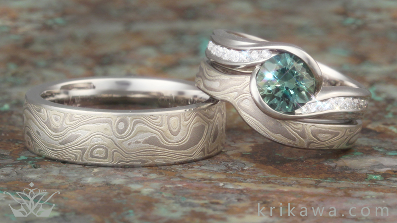 curved-wedding-band-matched-bridal-set-unique-green-sapphire