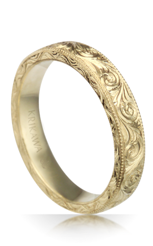 Hand Engraved Swirl Vintage Wedding Band
