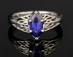 marquise lab chatham blue sapphire engagement ring