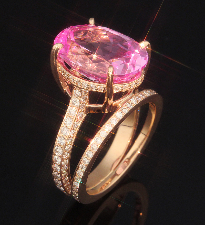lab created huge oval pink engagement ring