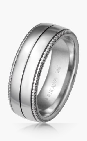 Mens Modern Vintage Wreath Wedding Band