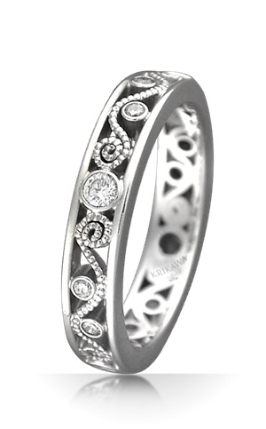 Womens Vintage Millegrain Curls Diamond Wedding Band