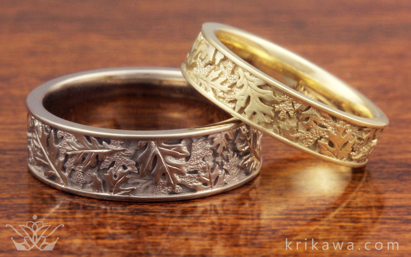 oak leaf matched wedding band set