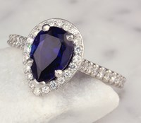 chatham pear blue sapphire halo engagement ring