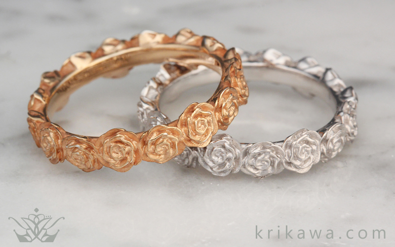 Roses wedding bands matching set