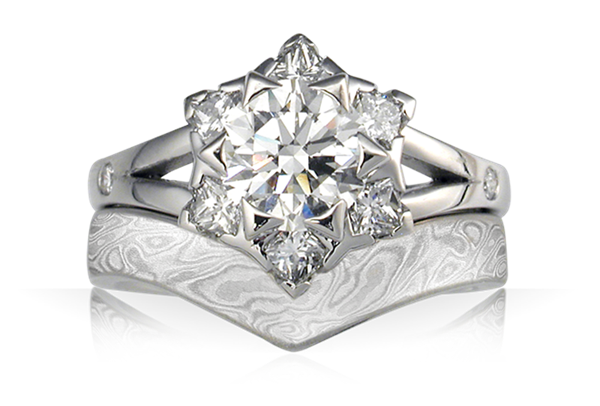 Artistic Snowflake Engagement Ring and Contoured Iced Platinum Mokume Wedding Band Bridal Set