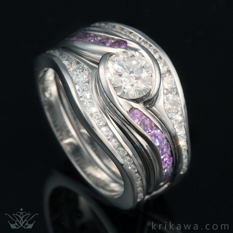 unique bridal set with purple sapphires and a diamond enhancer