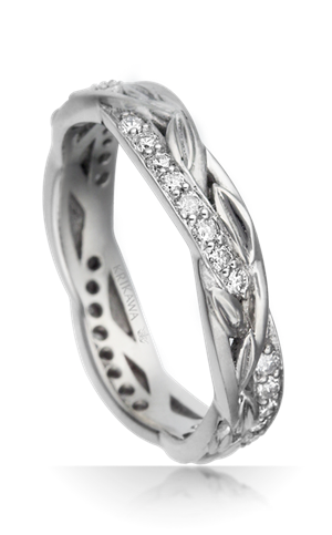 woven vine and diamond wedding band