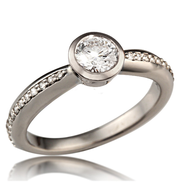 Tapered Modern Bezel Engagement Ring White Gold and White Diamonds