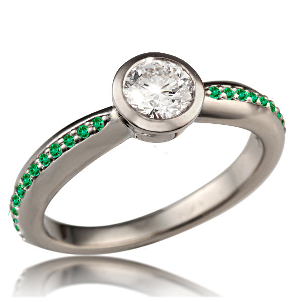 Tapered Modern Bezel Engagement Ring with Emerald Accents