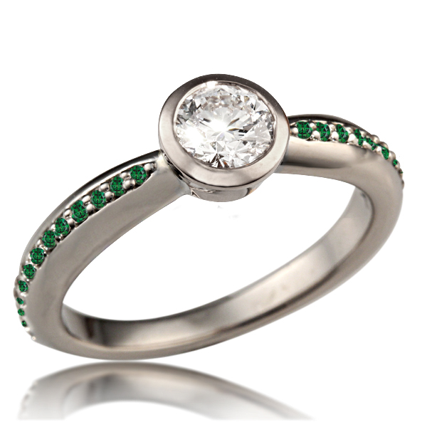 Tapered Modern Bezel Engagment Ring with forest green accent diamonds