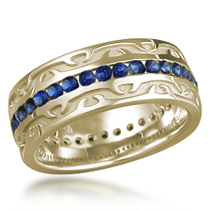 Tribal Thorn Wedding Band with Blue Sapphires
