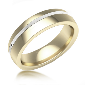 Flat Off-Center 14k White Gold Inlay Stripe in 14k Yellow Gold Band