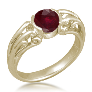 Carved Curls Engagement Ring with Ruby