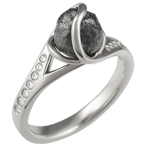 Diamond Orbit Engagement Ring in 14k White Gold with a Black Raw Diamond