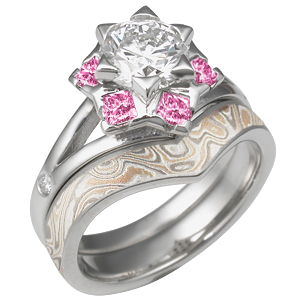 Artistic Snowflake Engagement Ring with Champagne Mokume Contoured Wedding Band