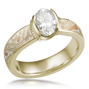 Autumn Mokume Millegrained Solitaire Engagement Ring