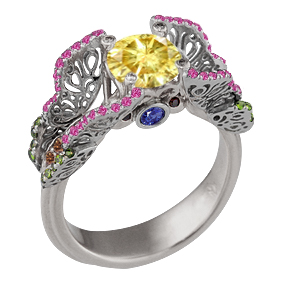 Butterfly Fishtail Pave Engagement Ring with Yellow Diamond and Palladium Band