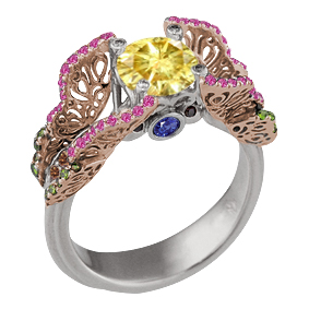 Butterfly Fishtail Pave Engagement Ring with Yellow Diamond and Rose Gold Butterflies