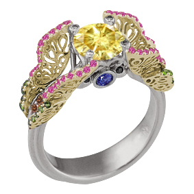 Butterfly Fishtail Pave Engagement Ring with Yellow Diamond and Yellow Gold Butterflies