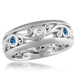 Carved Curls Wedding Band with Rails and Alternating Vivid Enhanced Blue Diamonds