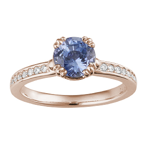 14k Rose Gold Carved Leaf Pave Engagement Ring with blue sapphire