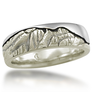 Mountain Wedding Band in 10k Green Gold and Palladium