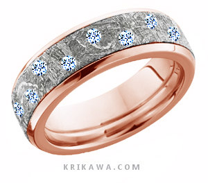 meteorite wedding band with scattered diamonds