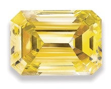 lab created emerald cut yellow diamond