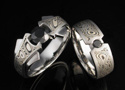 black diamonds with darkened winter mokume - Exotic Wedding Rings