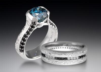 Exotic Black Diamond Wedding Set